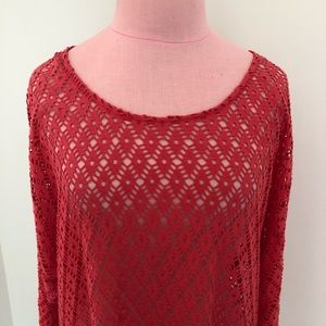 Chico's Lace Long Sleeve Scoop Neck Top
